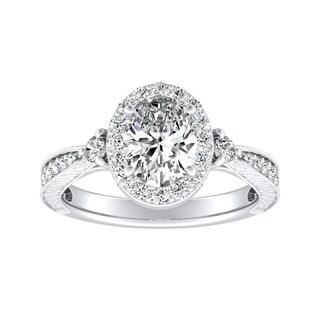 Auriya Plat Certified 3/4ctTDW Oval Diamond Halo Engagement Ring - White H-I
