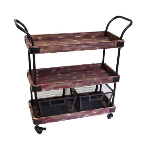 Sagebrook Home Brown Wood/Metal 3-tier Bar Cart with 2 Baskets