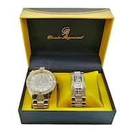 Bling-ed Out Rich Easy Reader Dial Hip Hop Mens Watch and Matching Bling Bling ID Style Designer Link Bracelet - 8546B Gold
