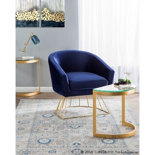 Canary Contemporary-Glam Tub Chair in Metal and Velvet Fabric