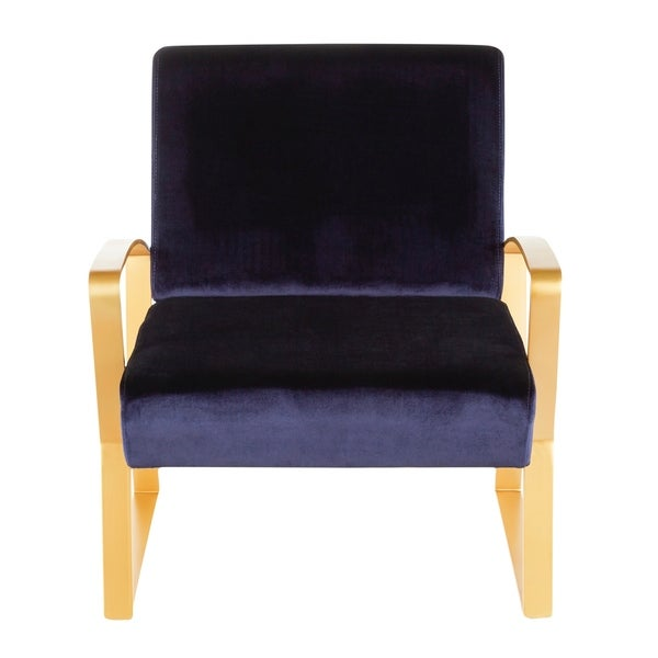 Henley Contemporary-Glam Lounge Chair in Metal and Velvet Fabric - N/A. Opens flyout.