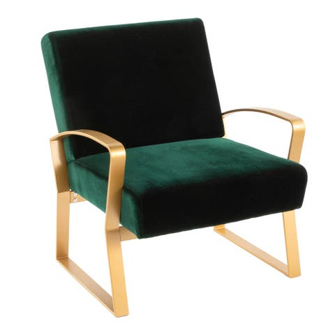 Henley Contemporary-Glam Lounge Chair in Metal and Velvet Fabric - N/A