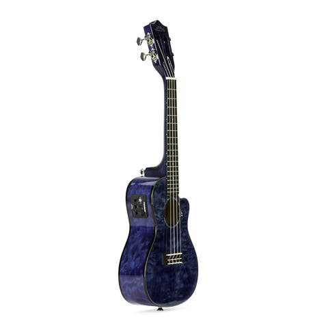 Lanikai Quilted Maple Blue Stain Concert with Kula Preamp A/E Ukulele