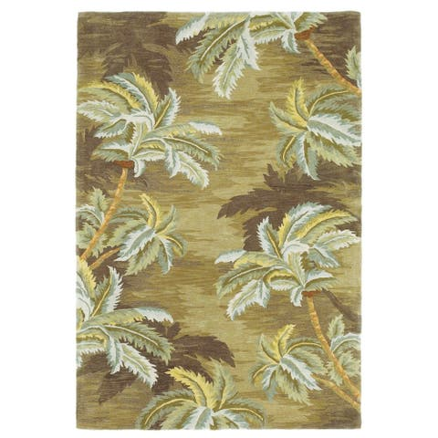 KAS Sparta Moss Palm Trees Hand-tufted Wool Rug
