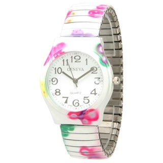 Olivia Pratt Floral Print Stretchband Watch - One size