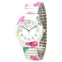 Olivia Pratt Floral Print Stretchband Watch - One size
