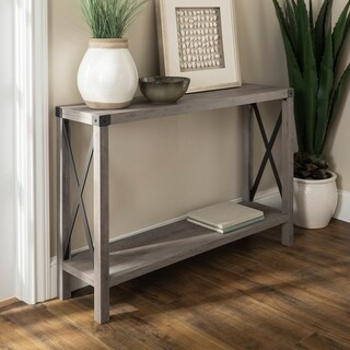 "46"" Urban Industrial Farmhouse Metal X Entry Table"