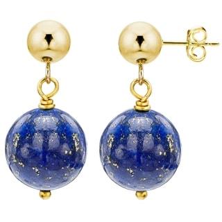 DaVonna 14k Yellow Gold 8mm Gemstone Birthstone Dangle Stud Earrings
