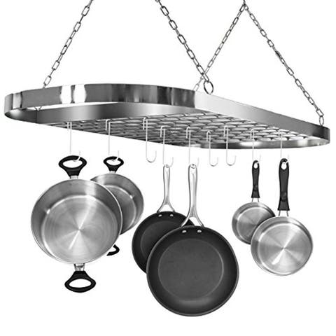 Ceiling mounted Pot Rack with Hooks-Rustic