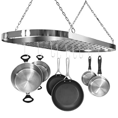 Ceiling mounted Pot Rack with Hooks - Chrome