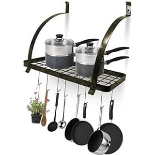 Sorbus Wall Mount Pot Rack with Hooks - Rustic