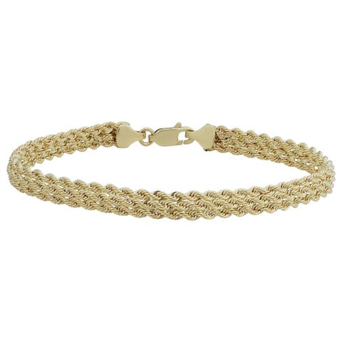10k Yellow Gold Triple Row Semi-solid Rope Bracelet (7.5 inches)