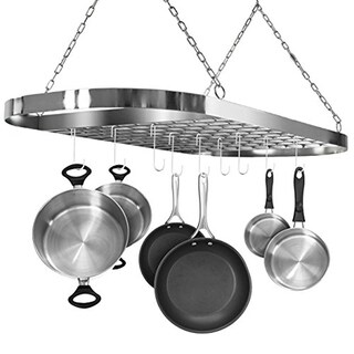 Ceiling mounted Pot Rack with Hooks-White