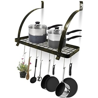 Wall Mount Pot Rack with Hooks - Chrome