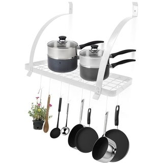 Wall Mount Pot Rack with Hooks - White