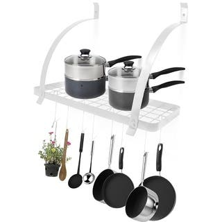 Sorbus Wall Mount Pot Rack with Hooks - White
