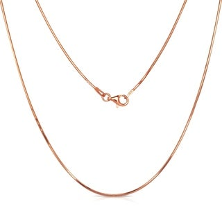 "Curata Italian 1.0mm Rose-gold Plated Sterling Silver Snake Chain Necklace (16-30"")"