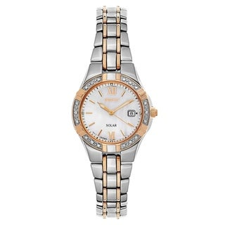 Seiko Diamond Silver and Rose Gold Women's Watch