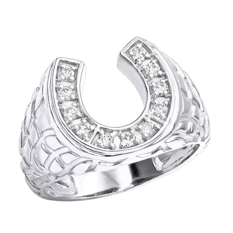 Good Luck Men's 14k Gold Nugget Horseshoe Diamond Ring 0.3ctw G-H Color by Luxurman
