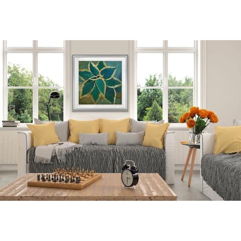 Tropical Burst -Custom Framed Print - blue, white, grey, yellow, green, silver, gold