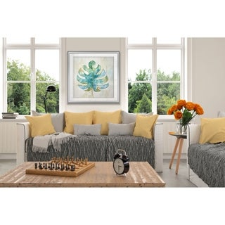 Tropical Leaf II -Custom Framed Print - blue, white, grey, yellow, green, silver, gold