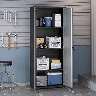 """Fortress Textured Metal 75.4"""" Garage Cabinet with 4 Adjustable Shelves in Grey"""