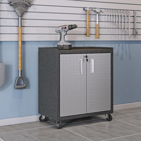 """Fortress Textured Metal 31.5"""" Garage Mobile Cabinet with 2 Adjustable Shelves in Grey"""