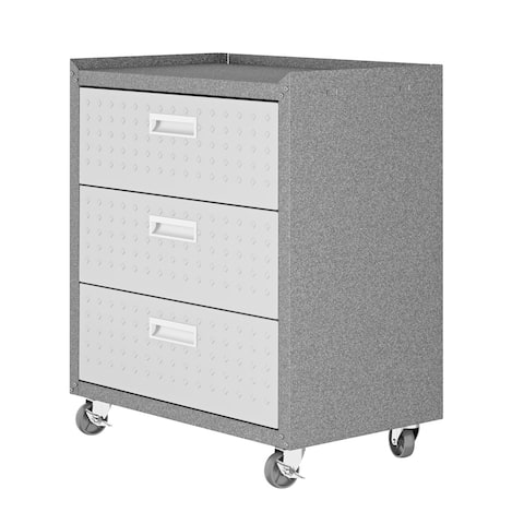 """Fortress Textured Metal 31.5"""" Garage Mobile Chest with 3 Full Extension Drawers in Grey"""