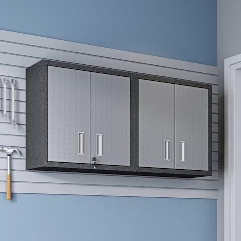 30-in. Grey Metal Cabinets w/ Adjustable Floating Shelves (Set of 2)