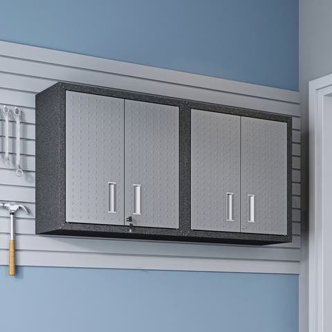 "Fortress 30"" Floating Textured Metal Garage Cabinet with Adjustable Shelves in Grey - Set of 2"