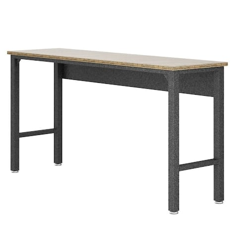 "Fortress 72.4"" Garage Table in Natural Wood and Steel"