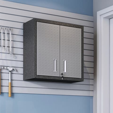 """Fortress 30"""" Floating Textured Metal Garage Cabinet with Adjustable Shelves in Grey"""