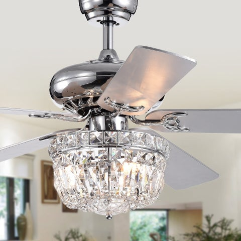 Galileo 52-Inch 5-Blade Chrome Lighted Ceiling Fans with Crystal Bowl Shade (Remote Controlled)