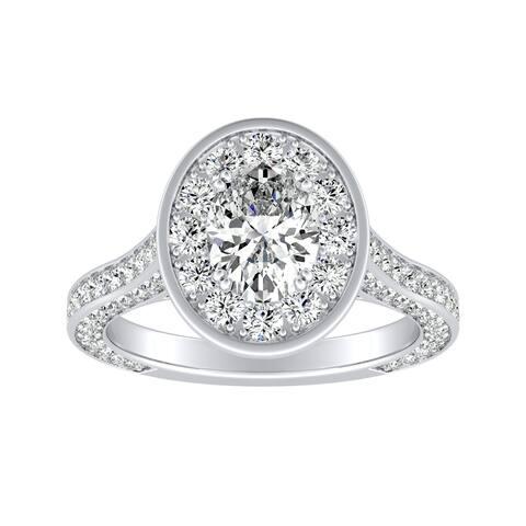 Auriya Platinum Oval-cut 2 1/4ctw Halo Diamond Engagement Ring