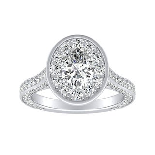 Link to Auriya Platinum Oval-cut 2 1/4ctw Halo Diamond Engagement Ring Similar Items in Wedding Rings
