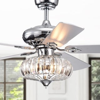 Kyana DeBase 52-Inch 5-Blade Chrome Lighted Ceiling Fans with Crystal Bowl Shade (Remote Controlled)