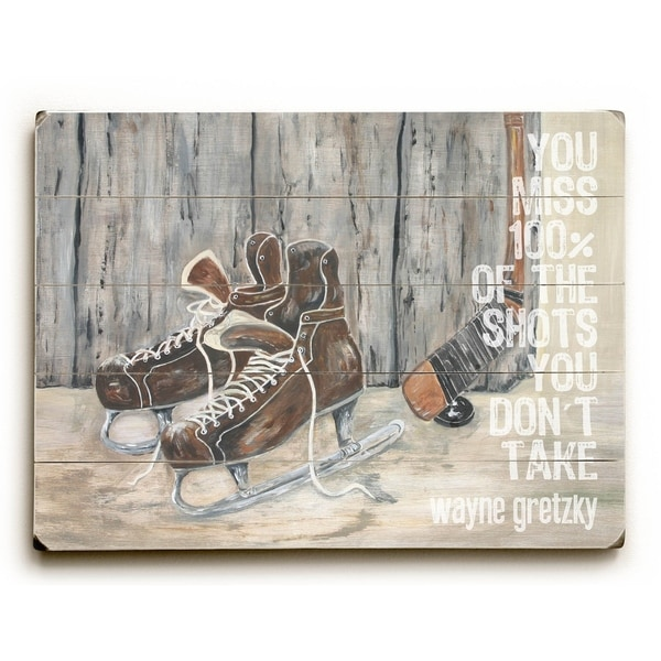 Shots You Don't Take - Planked Wood Wall Decor by Cheryl Overton