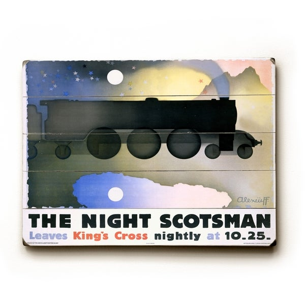 LNER Night Scotsman - Planked Wood Wall Decor by Alexander Alexeieff