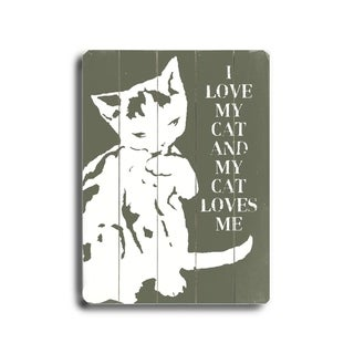 I love my cat -   Planked Wood Wall Decor by Lisa Weedn