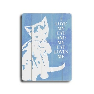 I love my cat (blue) -   Planked Wood Wall Decor by Lisa Weedn