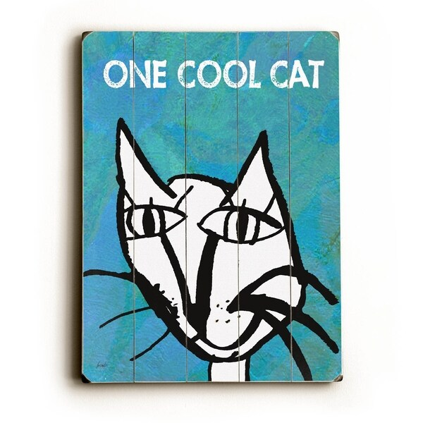 One Cool Cat - Planked Wood Wall Decor by Lisa Weedn