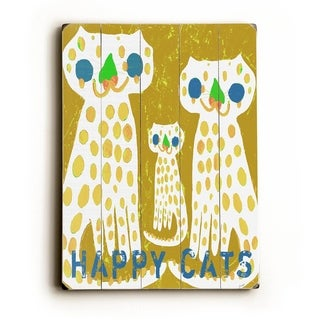 Happy Cats -   Planked Wood Wall Decor by Lisa Weedn