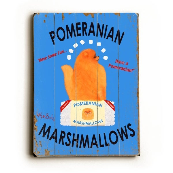 Pomeranian Marshmallows - Planked Wood Wall Decor by Ken Bailey