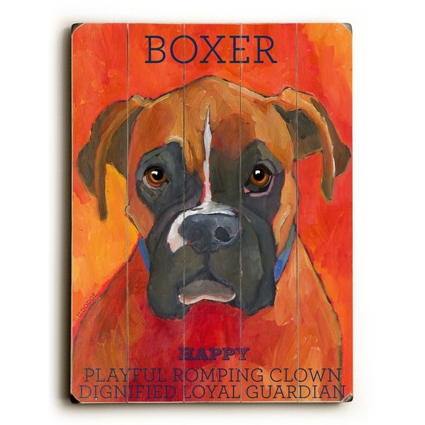 Boxer - Planked Wood Wall Decor by Ursula Dodge