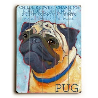 Pug -   Planked Wood Wall Decor by Ursula Dodge