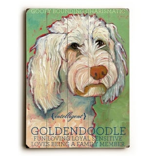 Goldendoodle -   Planked Wood Wall Decor by Ursula Dodge
