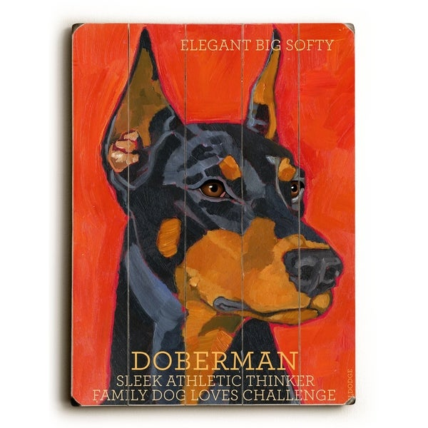 Doberman - Planked Wood Wall Decor by Ursula Dodge