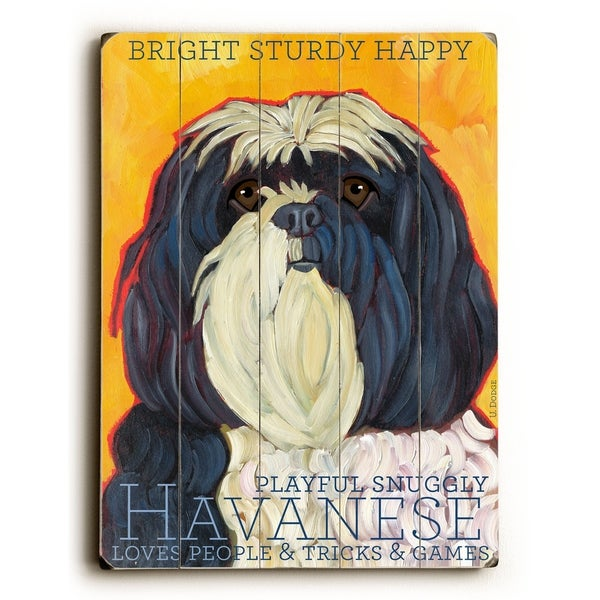 Havanese - Planked Wood Wall Decor by Ursula Dodge