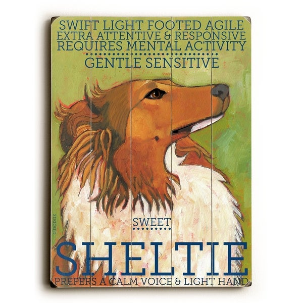 Sheltie - Planked Wood Wall Decor by Ursula Dodge