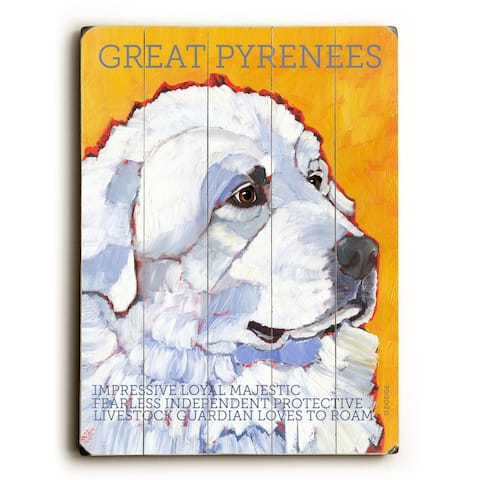 Great Pyrenees - Planked Wood Wall Decor by Ursula Dodge